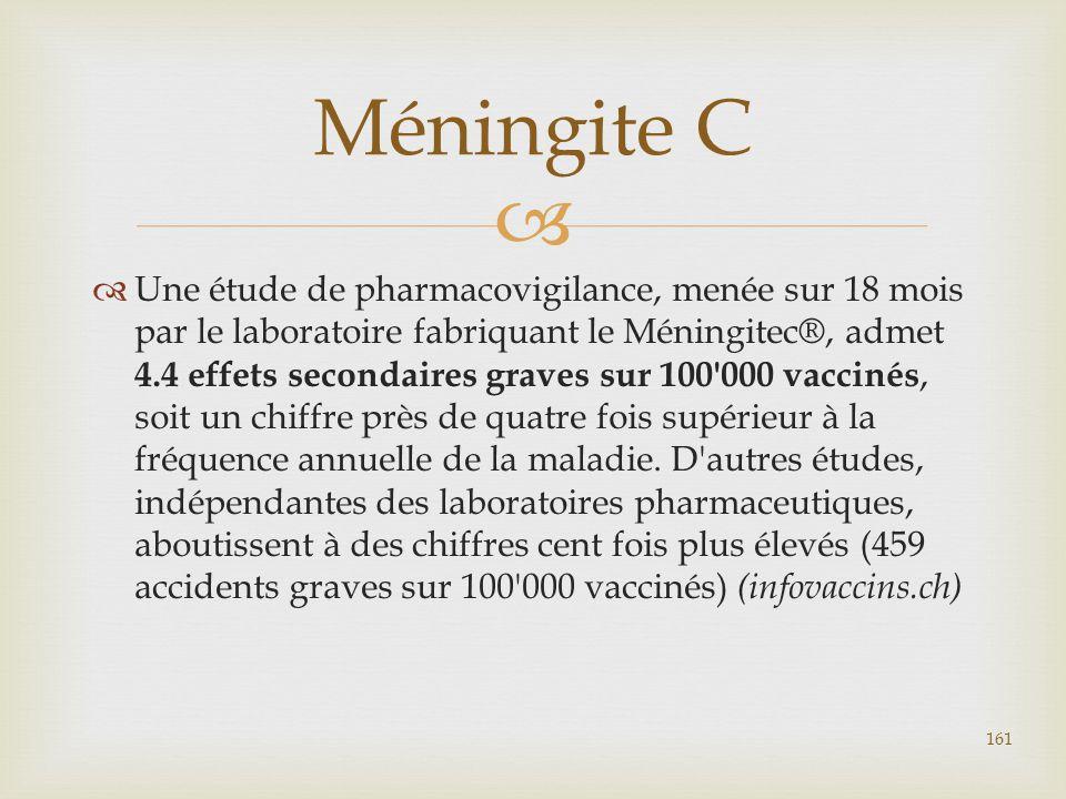   Une étude de pharmacovigilance, menée sur 18 mois par le laboratoire fabriquant le Méningitec®, admet 4.4 effets secondaires graves sur 100'000 va