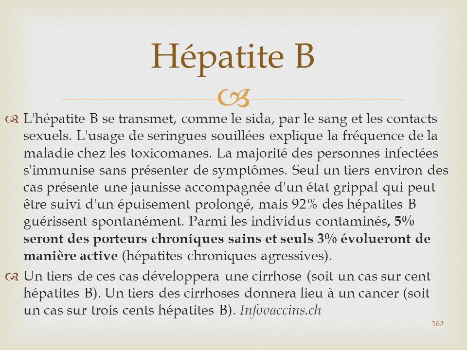   L'hépatite B se transmet, comme le sida, par le sang et les contacts sexuels. L'usage de seringues souillées explique la fréquence de la maladie c