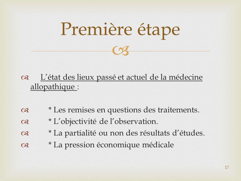   L'état des lieux passé et actuel de la médecine allopathique :  * Les remises en questions des traitements.  * L'objectivité de l'observation. 