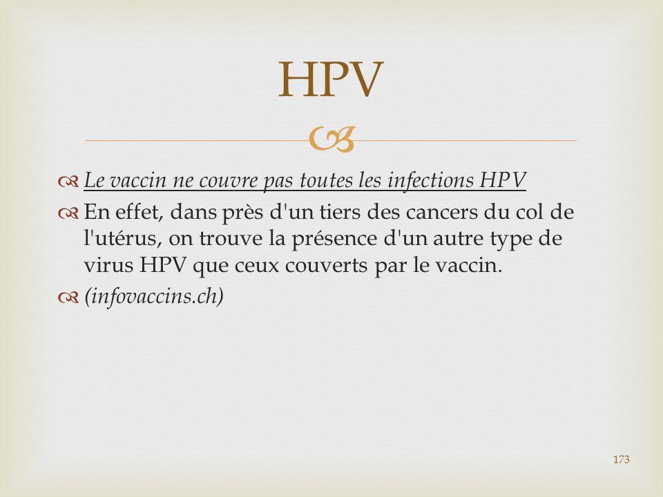   Le vaccin ne couvre pas toutes les infections HPV  En effet, dans près d'un tiers des cancers du col de l'utérus, on trouve la présence d'un autr