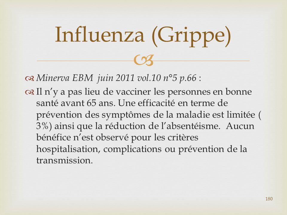   Minerva EBM juin 2011 vol.10 n°5 p.66 :  Il n'y a pas lieu de vacciner les personnes en bonne santé avant 65 ans. Une efficacité en terme de prév