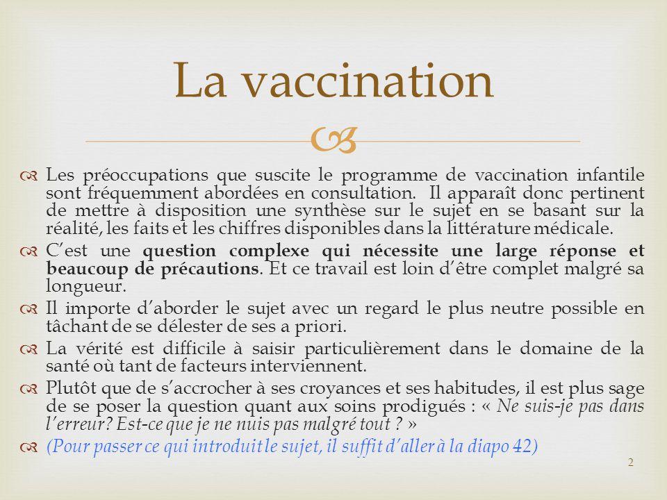  RELATION ENTRE LES VACCINATIONS ET LES ALLERGIES  Malades âgés de 10 à 17 ans en %  Rhume des foins Neurodermatite Allergie au Nickel  Non vaccinés et Vaccinés 16,8% 14,2% 13,9% 8,1% 7,1% 2,8% 83