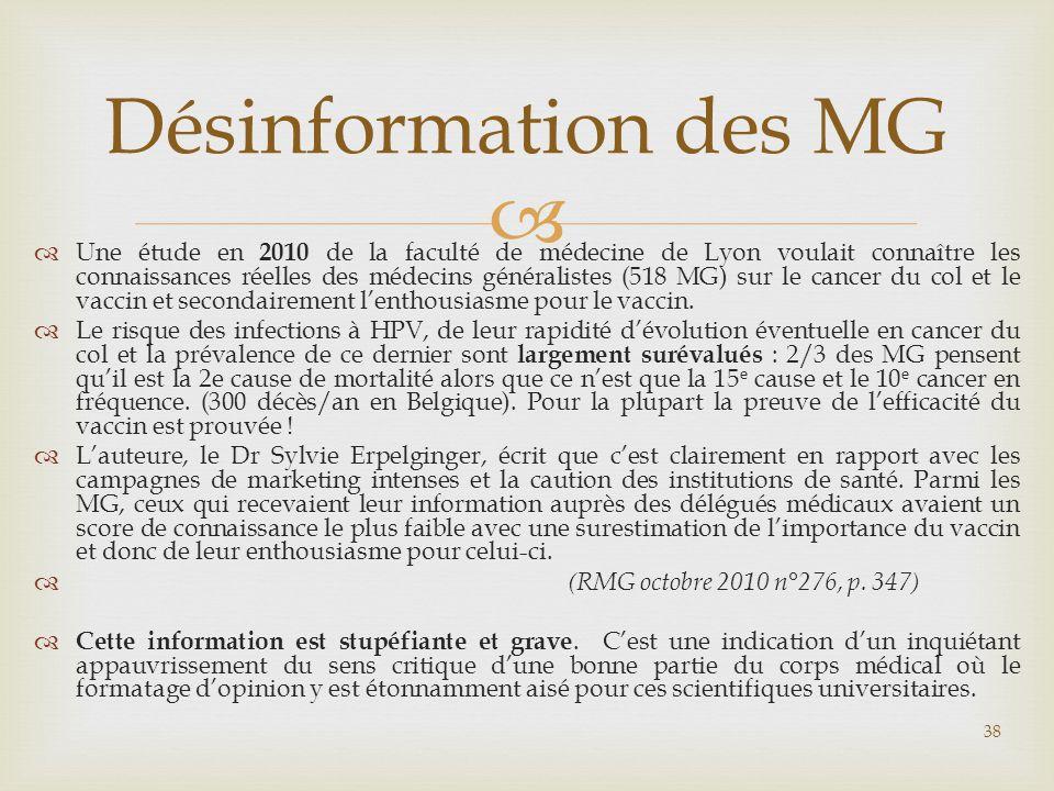   Une étude en 2010 de la faculté de médecine de Lyon voulait connaître les connaissances réelles des médecins généralistes (518 MG) sur le cancer d