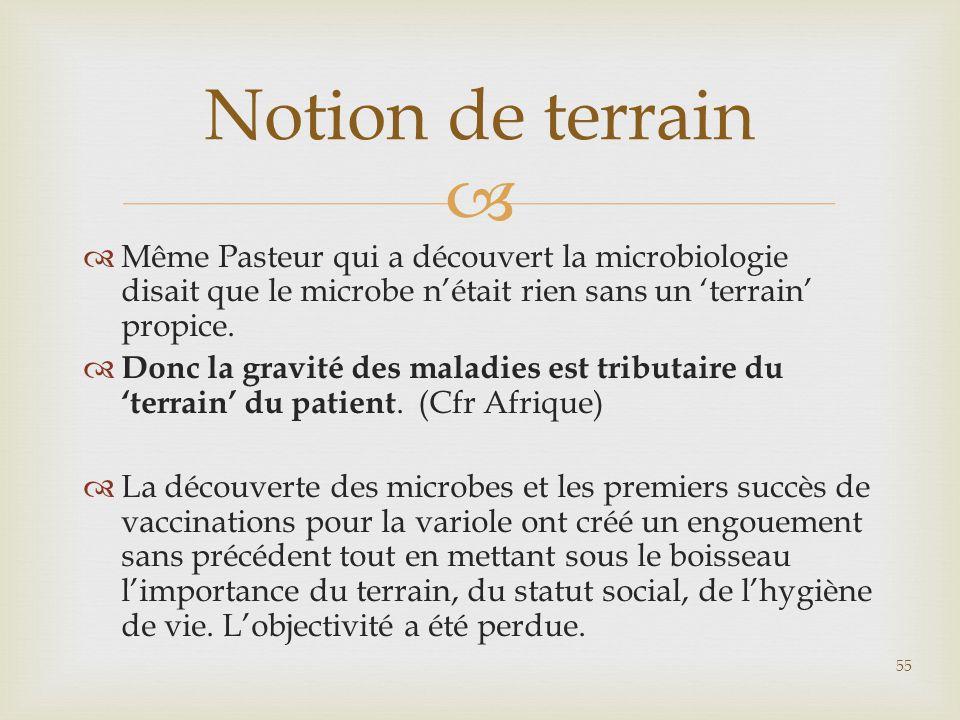  Même Pasteur qui a découvert la microbiologie disait que le microbe n'était rien sans un 'terrain' propice.  Donc la gravité des maladies est tri