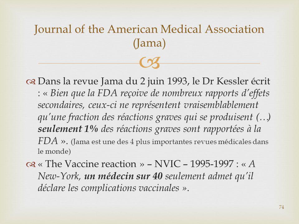  Dans la revue Jama du 2 juin 1993, le Dr Kessler écrit : « Bien que la FDA reçoive de nombreux rapports d'effets secondaires, ceux-ci ne représent
