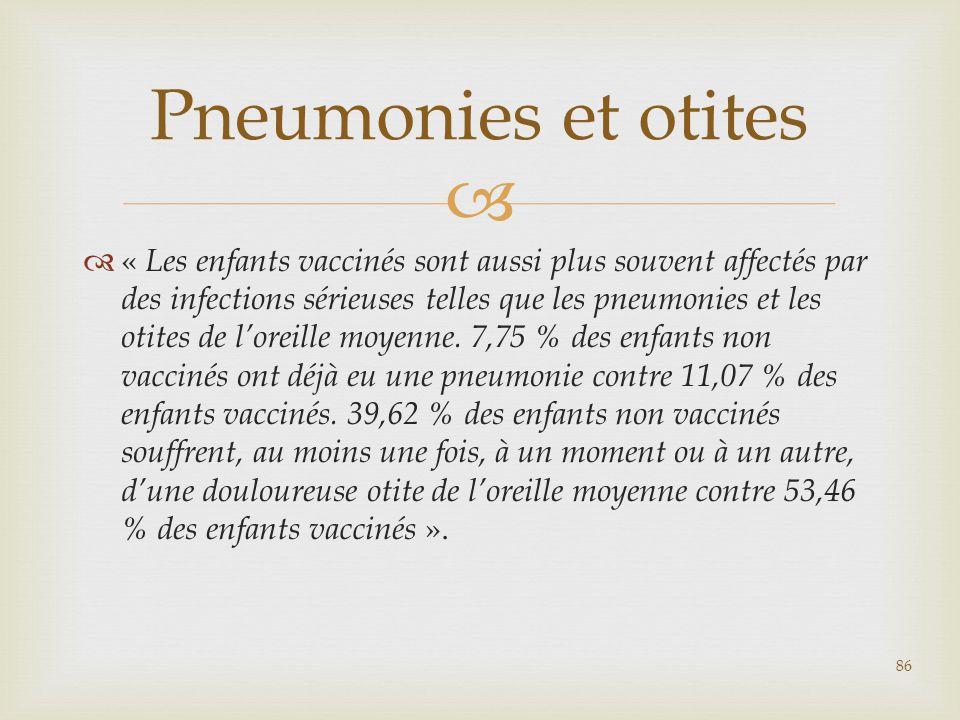   « Les enfants vaccinés sont aussi plus souvent affectés par des infections sérieuses telles que les pneumonies et les otites de l'oreille moyenne.
