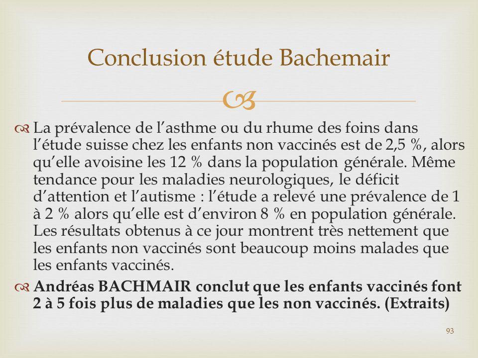   La prévalence de l'asthme ou du rhume des foins dans l'étude suisse chez les enfants non vaccinés est de 2,5 %, alors qu'elle avoisine les 12 % da