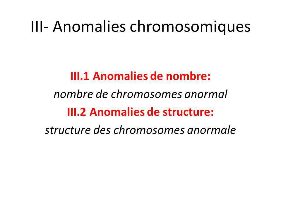 III- Anomalies chromosomiques III.1 Anomalies de nombre: nombre de chromosomes anormal III.2 Anomalies de structure: structure des chromosomes anormal