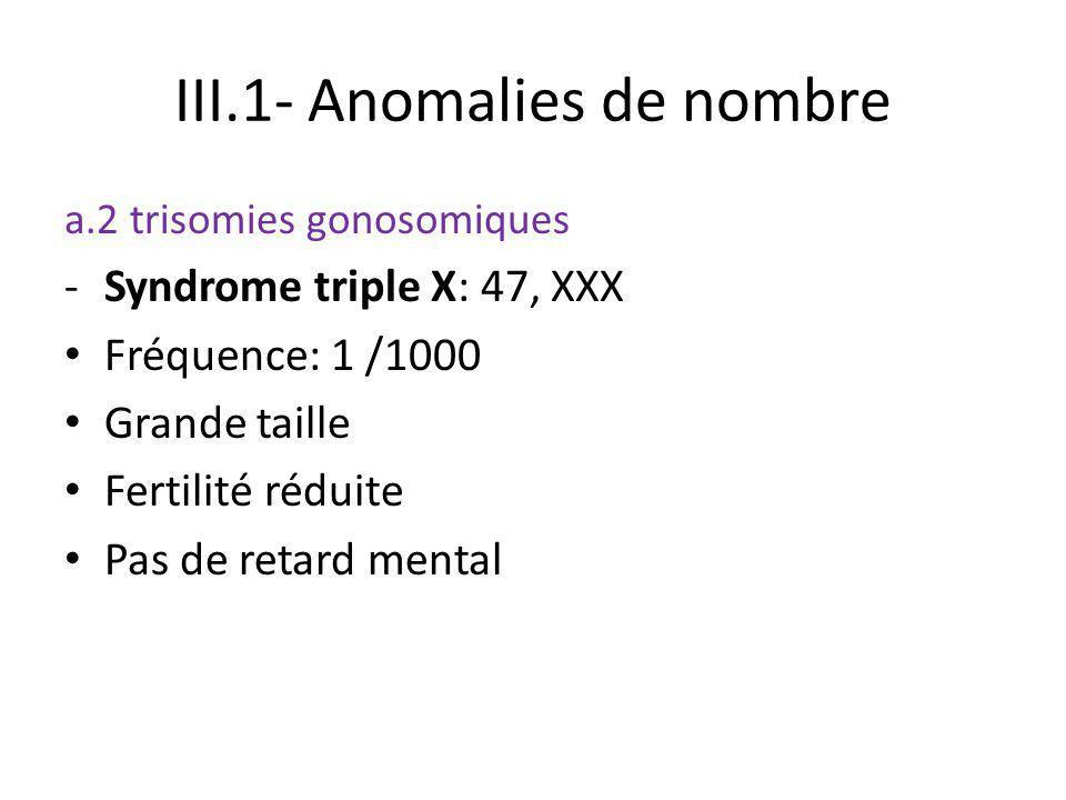 III.1- Anomalies de nombre a.2 trisomies gonosomiques -Syndrome triple X: 47, XXX Fréquence: 1 /1000 Grande taille Fertilité réduite Pas de retard men