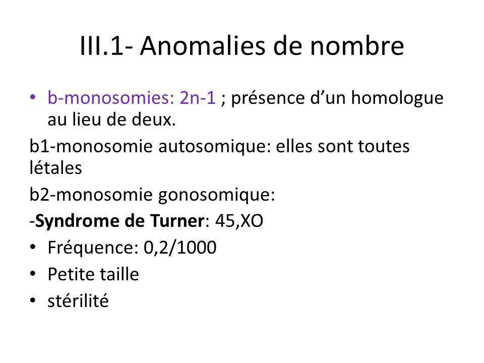 III.1- Anomalies de nombre b-monosomies: 2n-1 ; présence d'un homologue au lieu de deux. b1-monosomie autosomique: elles sont toutes létales b2-monoso