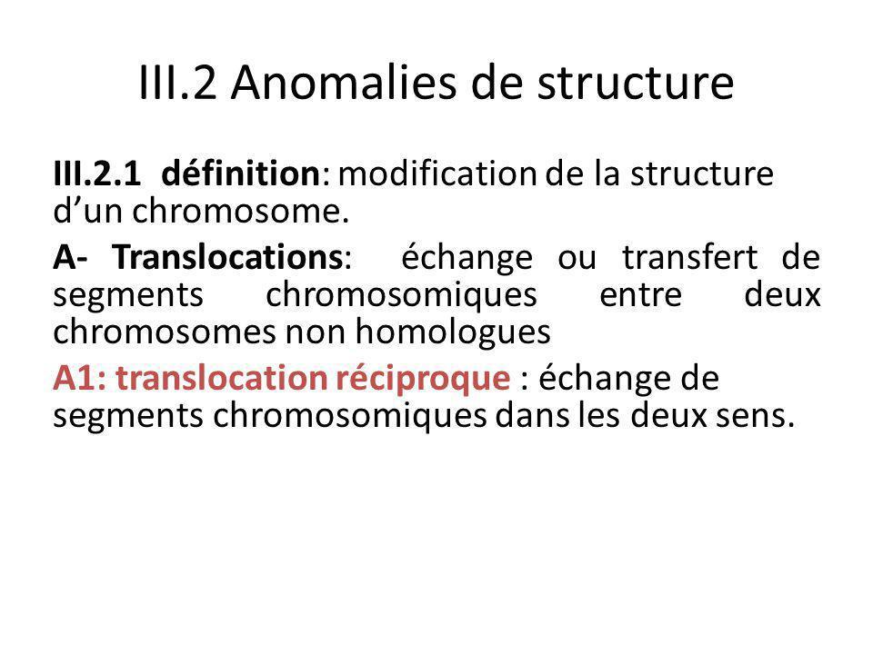 III.2 Anomalies de structure III.2.1 définition: modification de la structure d'un chromosome. A- Translocations: échange ou transfert de segments chr