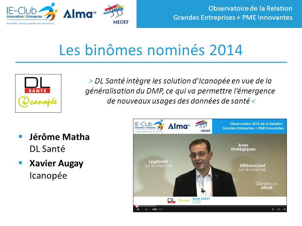 Observatoire de la Relation Grandes Entreprises + PME Innovantes Les binômes nominés 2014  Jérôme Matha DL Santé  Xavier Augay Icanopée > DL Santé i