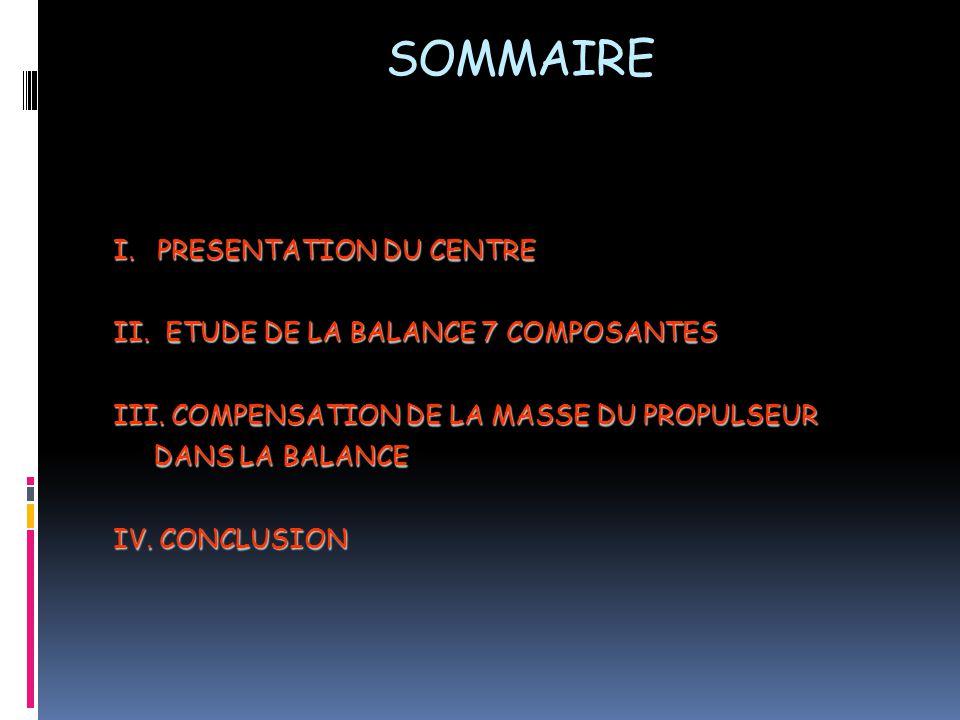 SOMMAIRE I. PRESENTATION DU CENTRE II. ETUDE DE LA BALANCE 7 COMPOSANTES III.