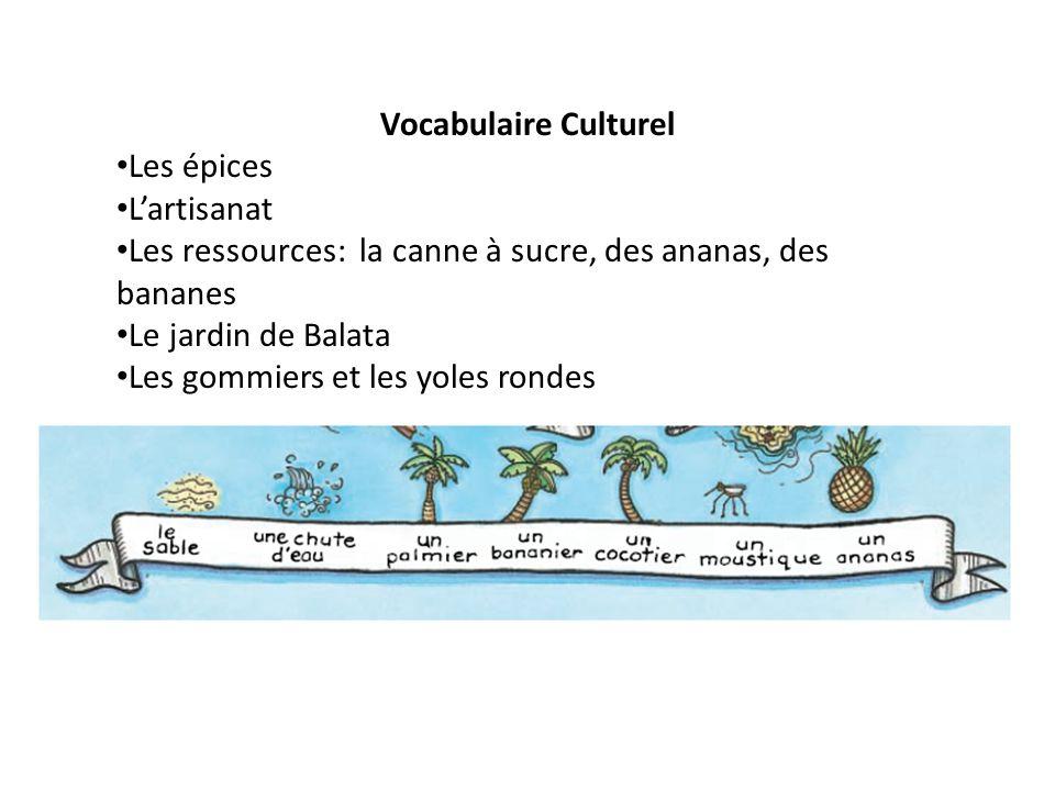 Vocabulaire Culturel Les épices L'artisanat Les ressources: la canne à sucre, des ananas, des bananes Le jardin de Balata Les gommiers et les yoles rondes