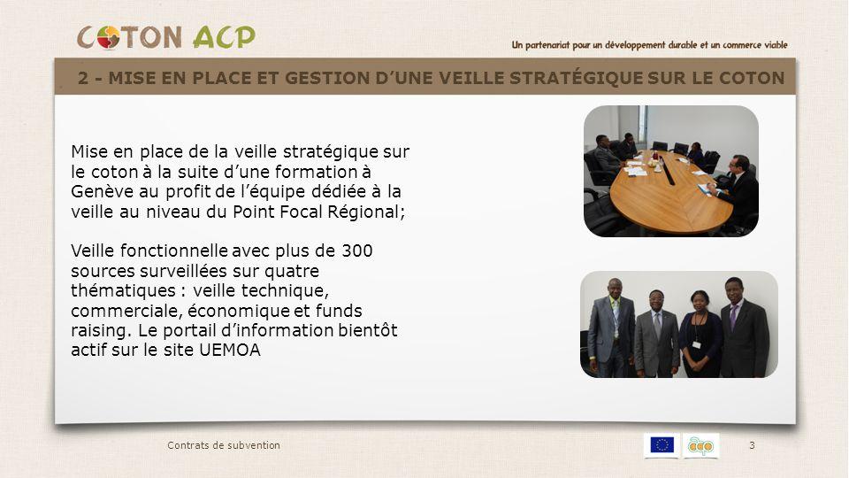 3 Mise en place de la veille stratégique sur le coton à la suite d'une formation à Genève au profit de l'équipe dédiée à la veille au niveau du Point