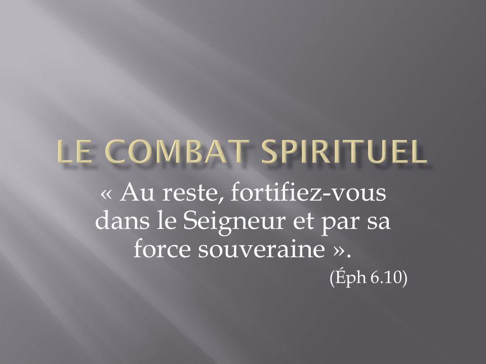 « Au reste, fortifiez-vous dans le Seigneur et par sa force souveraine ». (Éph 6.10)