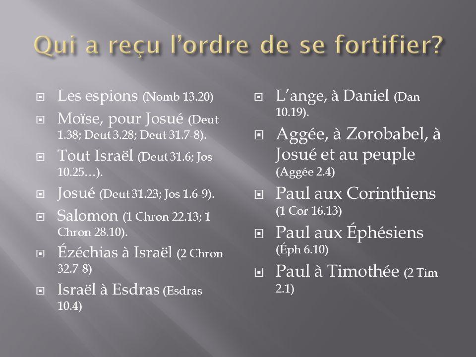 LLes espions (Nomb 13.20) MMoïse, pour Josué (Deut 1.38; Deut 3.28; Deut 31.7-8).