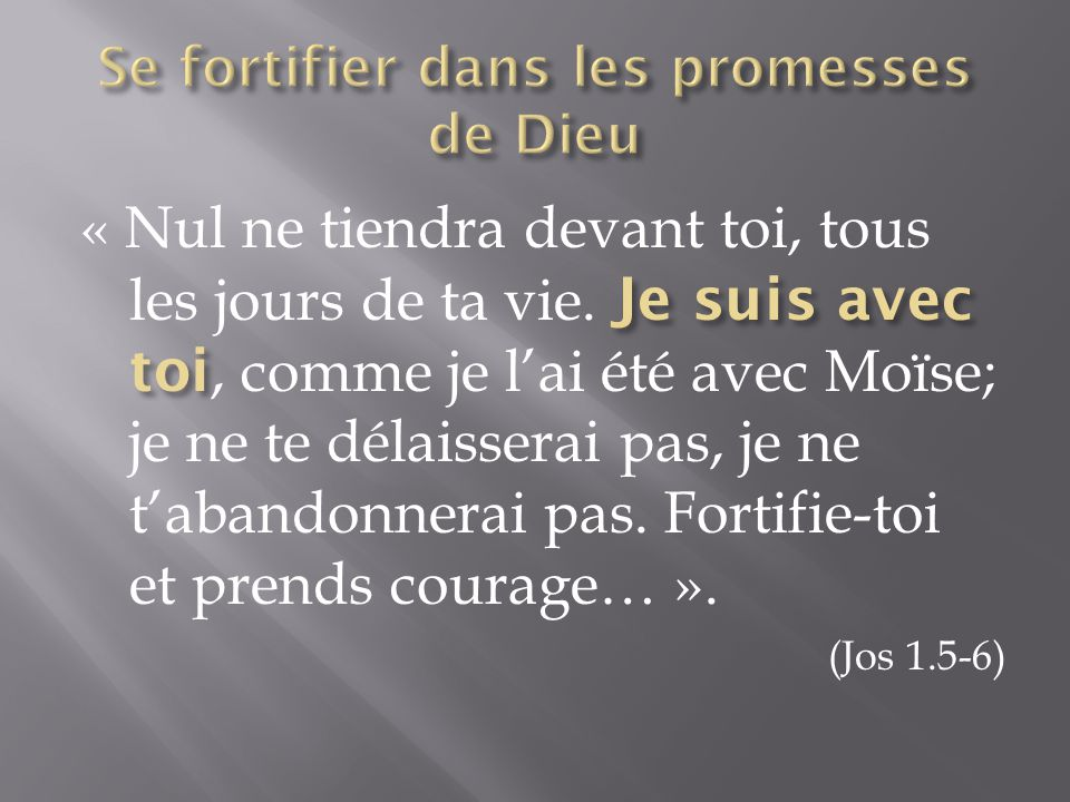 « Ne les crains pas; car je suis avec toi (littéralement: « avec toi, moi ») pour te délivrer – Oracle de l'Eternel ».