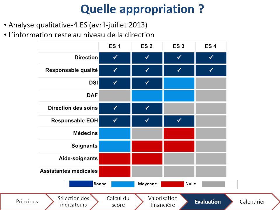Quelle appropriation ? BonneNulleMoyenne N/A 14 Analyse qualitative-4 ES (avril-juillet 2013) L'information reste au niveau de la direction Principes