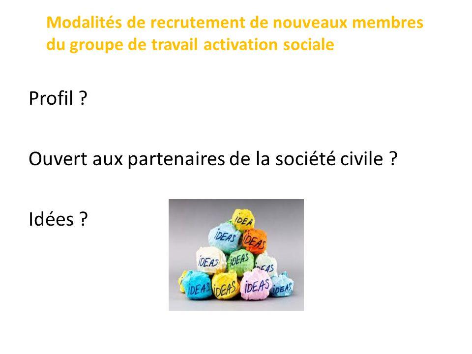 Modalités de recrutement de nouveaux membres du groupe de travail activation sociale Profil .