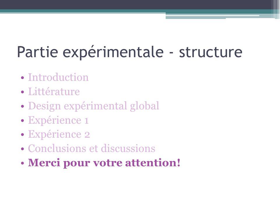 Partie expérimentale - structure Introduction Littérature Design expérimental global Expérience 1 Expérience 2 Conclusions et discussions Merci pour v