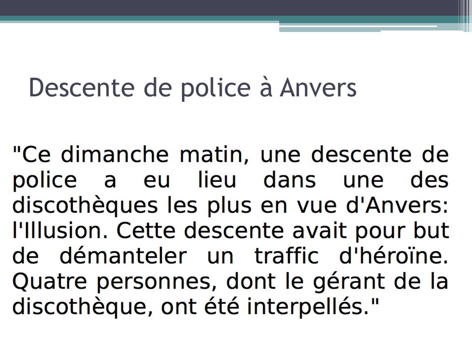 Descente de police à Anvers