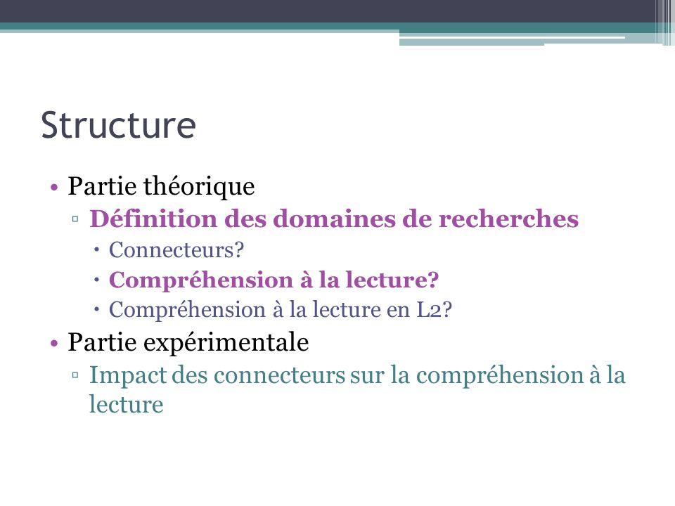 Expérience 1 Impact offline de connecteurs causaux sur la compréhension de textes en L2.