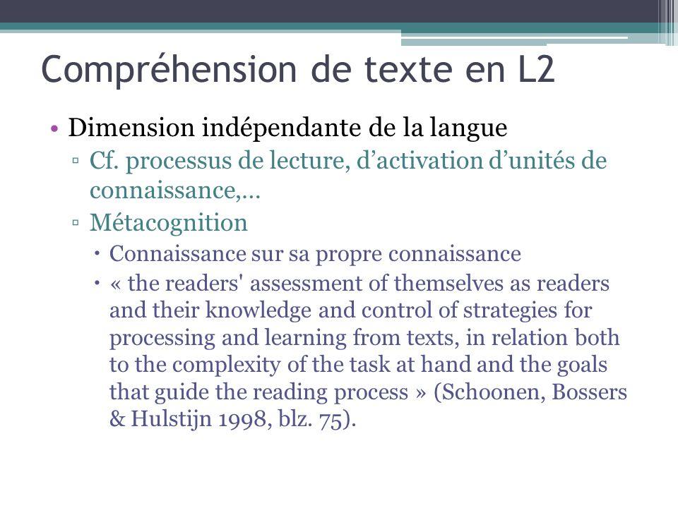 Compréhension de texte en L2 Dimension indépendante de la langue ▫Cf. processus de lecture, d'activation d'unités de connaissance,… ▫Métacognition  C
