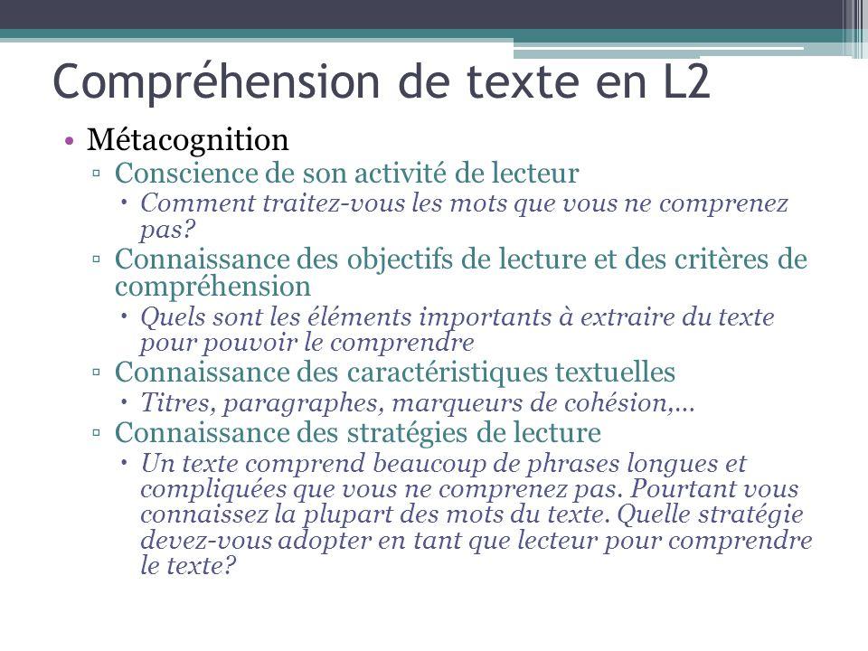 Compréhension de texte en L2 Métacognition ▫Conscience de son activité de lecteur  Comment traitez-vous les mots que vous ne comprenez pas? ▫Connaiss