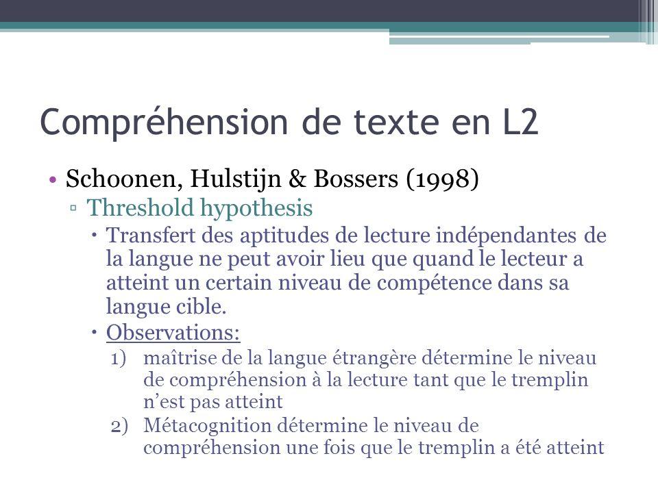 Compréhension de texte en L2 Schoonen, Hulstijn & Bossers (1998) ▫Threshold hypothesis  Transfert des aptitudes de lecture indépendantes de la langue