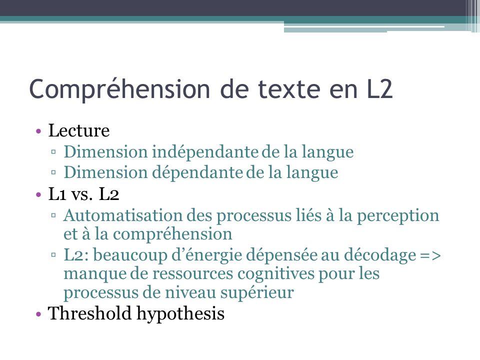 Compréhension de texte en L2 Lecture ▫Dimension indépendante de la langue ▫Dimension dépendante de la langue L1 vs. L2 ▫Automatisation des processus l
