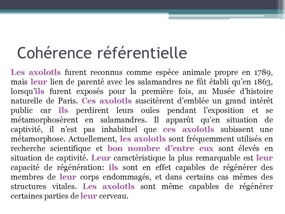 Cohérence référentielle Les axolotls furent reconnus comme espèce animale propre en 1789, mais leur lien de parenté avec les salamandres ne fût établi qu'en 1863, lorsqu'ils furent exposés pour la première fois, au Musée d'histoire naturelle de Paris.