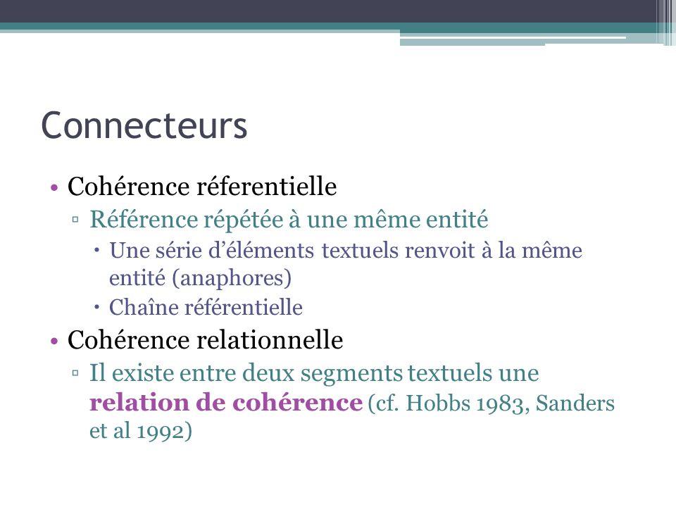 Connecteurs Cohérence réferentielle ▫Référence répétée à une même entité  Une série d'éléments textuels renvoit à la même entité (anaphores)  Chaîne référentielle Cohérence relationnelle ▫Il existe entre deux segments textuels une relation de cohérence (cf.
