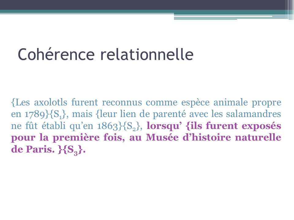 Cohérence relationnelle {Les axolotls furent reconnus comme espèce animale propre en 1789}{S 1 }, mais {leur lien de parenté avec les salamandres ne f