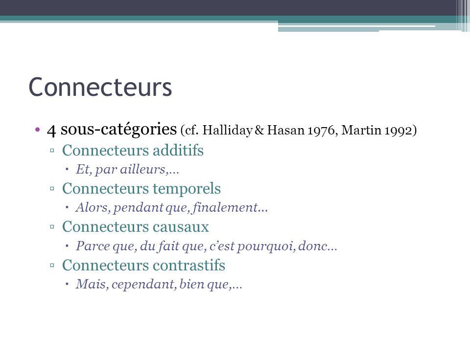 Connecteurs 4 sous-catégories (cf. Halliday & Hasan 1976, Martin 1992) ▫Connecteurs additifs  Et, par ailleurs,… ▫Connecteurs temporels  Alors, pend