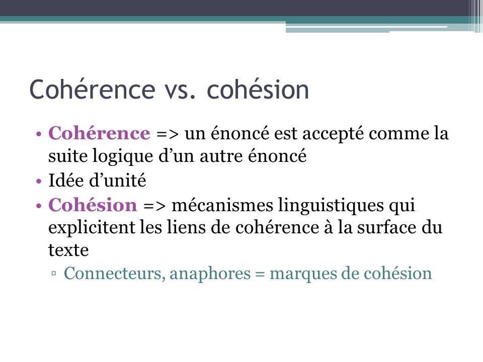 Cohérence vs. cohésion Cohérence => un énoncé est accepté comme la suite logique d'un autre énoncé Idée d'unité Cohésion => mécanismes linguistiques q