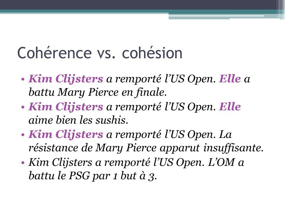 Cohérence vs. cohésion Kim Clijsters a remporté l'US Open. Elle a battu Mary Pierce en finale. Kim Clijsters a remporté l'US Open. Elle aime bien les