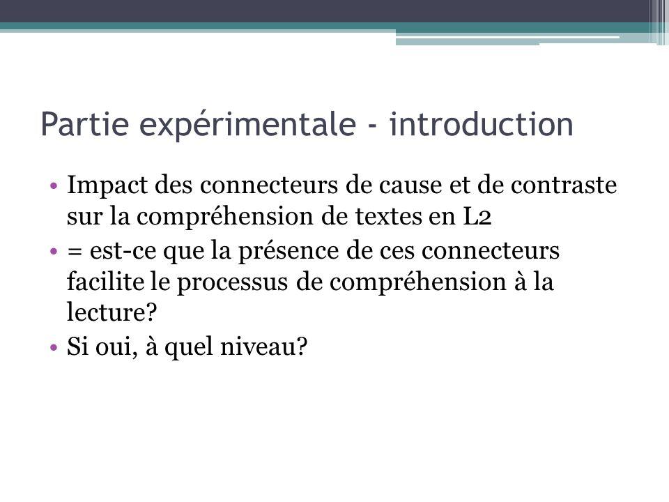 Partie expérimentale - introduction Impact des connecteurs de cause et de contraste sur la compréhension de textes en L2 = est-ce que la présence de c