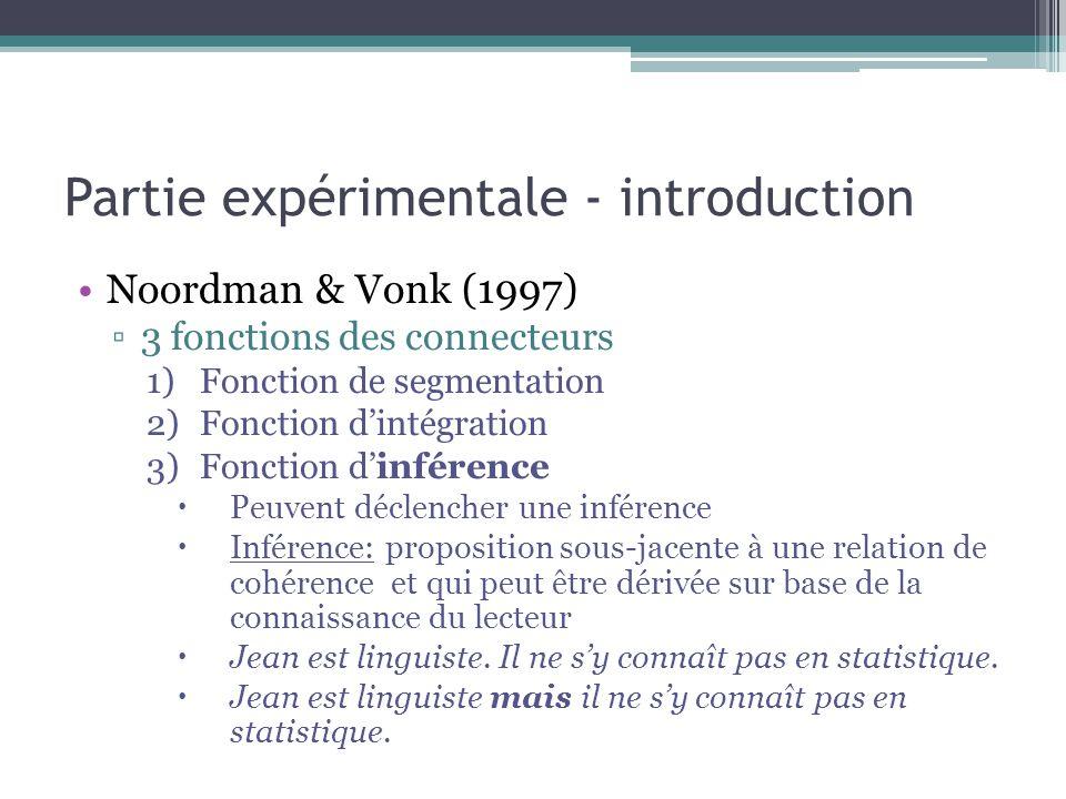 Partie expérimentale - introduction Noordman & Vonk (1997) ▫3 fonctions des connecteurs 1)Fonction de segmentation 2)Fonction d'intégration 3)Fonction