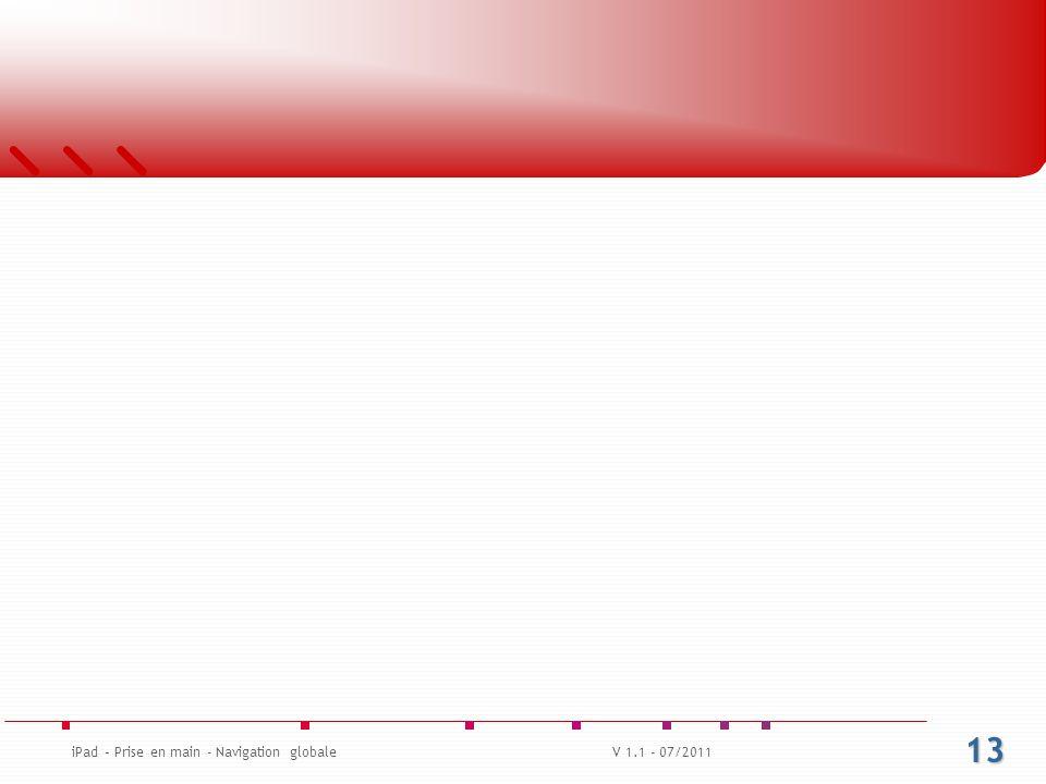 13 iPad – Prise en main - Navigation globaleV 1.1 - 07/2011