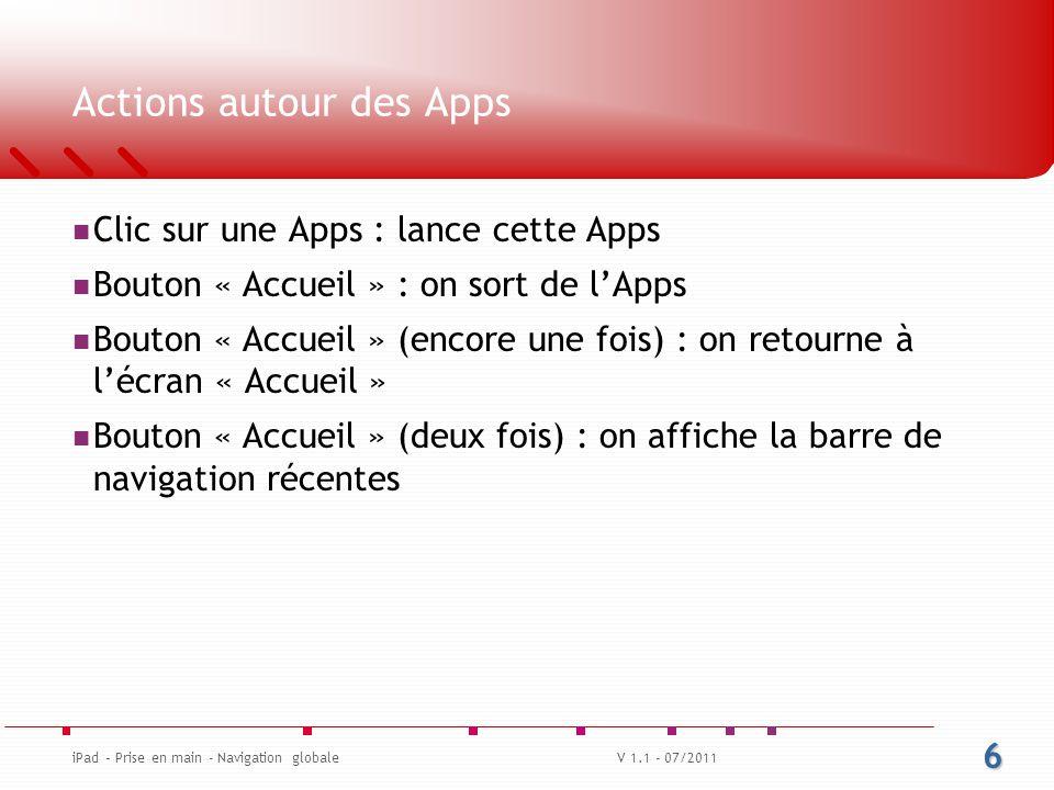 Actions autour des Apps Clic sur une Apps : lance cette Apps Bouton « Accueil » : on sort de l'Apps Bouton « Accueil » (encore une fois) : on retourne à l'écran « Accueil » Bouton « Accueil » (deux fois) : on affiche la barre de navigation récentes 6 iPad – Prise en main - Navigation globaleV 1.1 - 07/2011