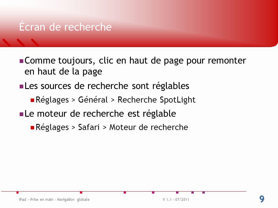 Écran de recherche Quelques exemples Recherche « Guideline » On voit une liste dynamique Recherche « iPad » Apps Note Mail Agenda Recherche sur le Web (moteur par défaut Google dans mon cas) Recherche dans Wikipédia (source de recherche en plus) 10 iPad – Prise en main - Navigation globaleV 1.1 - 07/2011