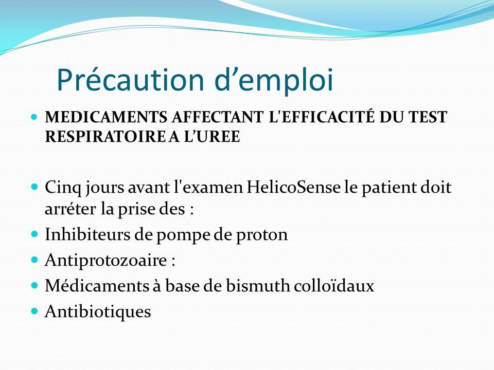 Précaution d'emploi MEDICAMENTS AFFECTANT L'EFFICACITÉ DU TEST RESPIRATOIRE A L'UREE Cinq jours avant l'examen HelicoSense le patient doit arréter la