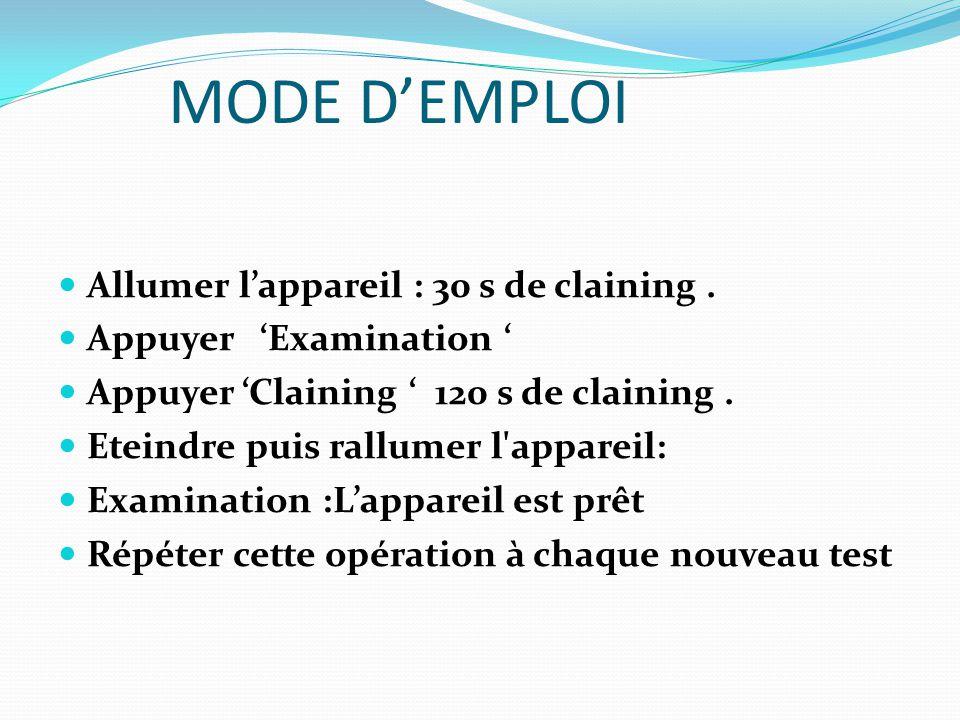 MODE D'EMPLOI TEST 1- Introduire les données du patient 3- Dossier clinique (2éme page cocher « few years »)