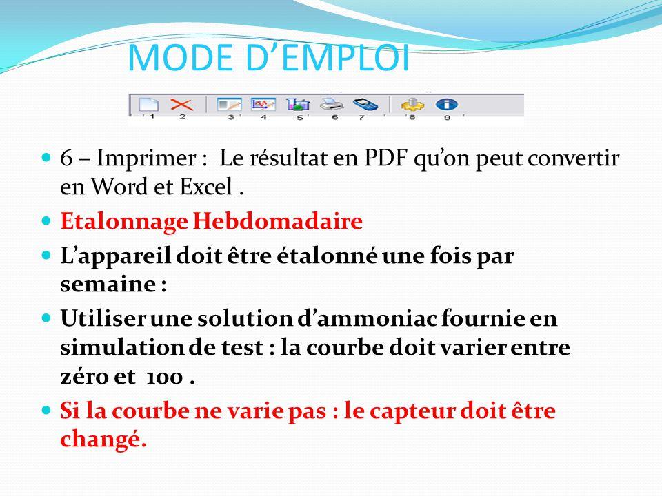 MODE D'EMPLOI 6 – Imprimer : Le résultat en PDF qu'on peut convertir en Word et Excel. Etalonnage Hebdomadaire L'appareil doit être étalonné une fois