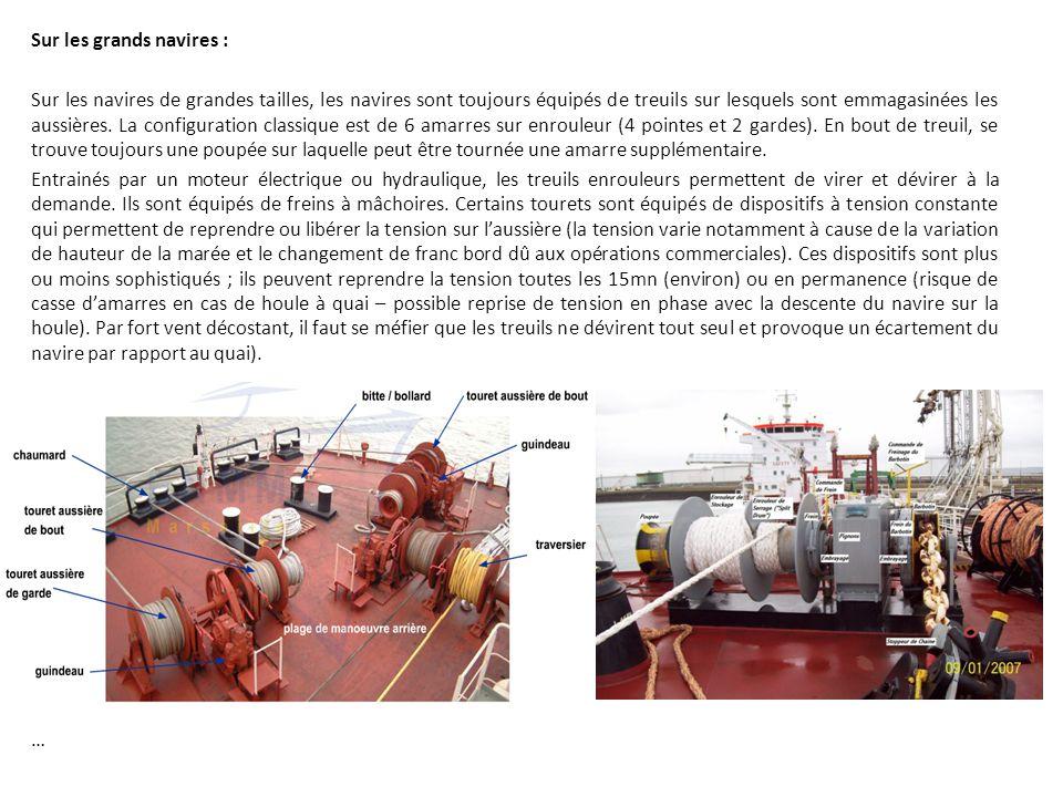 Sur les grands navires : Sur les navires de grandes tailles, les navires sont toujours équipés de treuils sur lesquels sont emmagasinées les aussières.