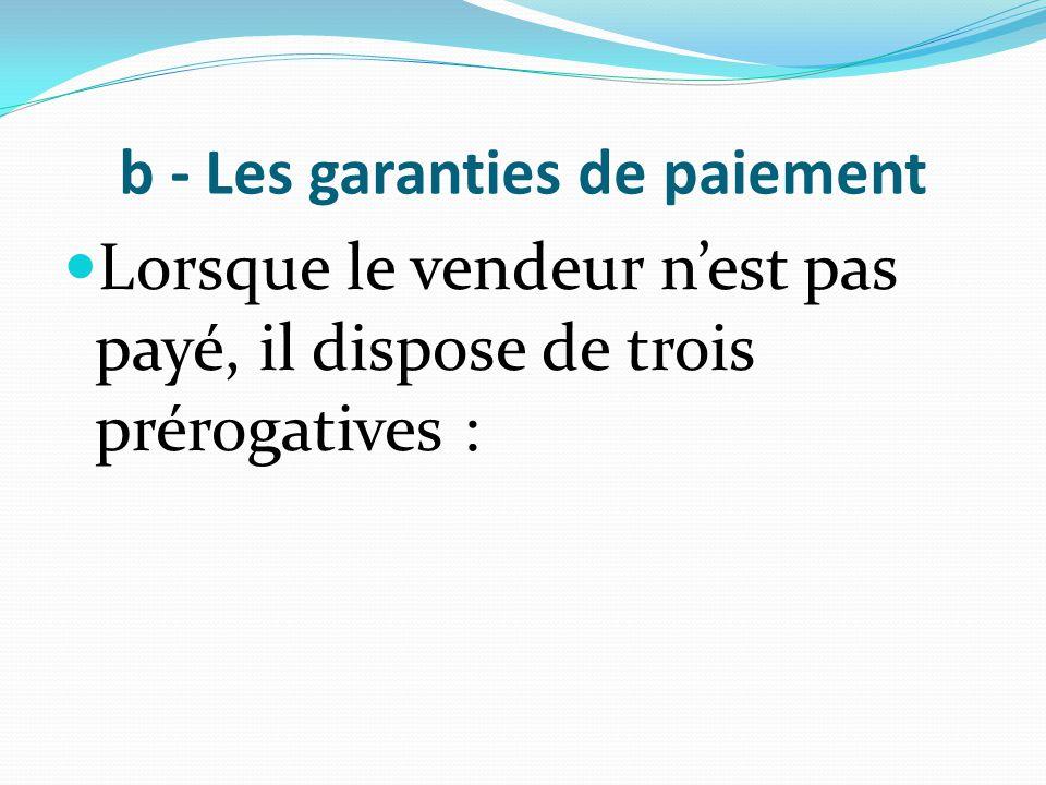 b - Les garanties de paiement Lorsque le vendeur n'est pas payé, il dispose de trois prérogatives :