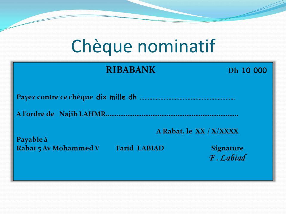 Chèque nominatif