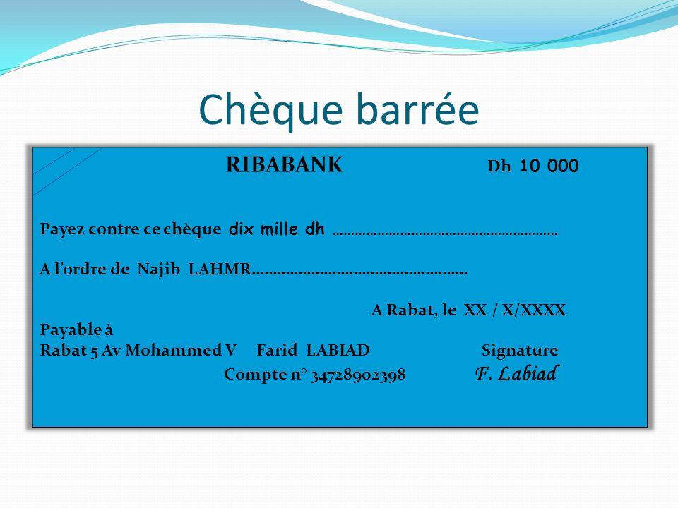 Chèque barrée