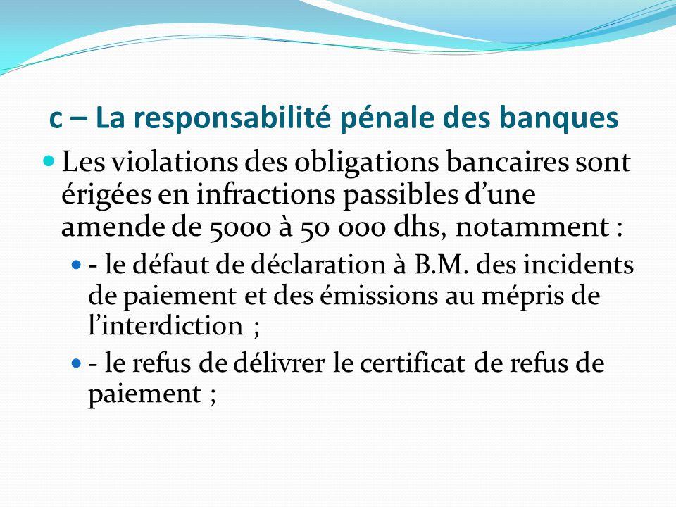 c – La responsabilité pénale des banques Les violations des obligations bancaires sont érigées en infractions passibles d'une amende de 5000 à 50 000